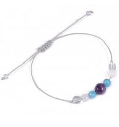 Bracelet porte-bonheur harmonie aigue marine, jade blanc, améthyste.