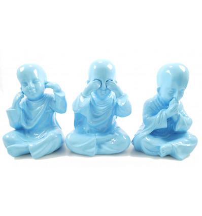"""Les 3 Moines """"secret du bonheur"""". Statuettes en resine laquee bleu pastel h20cm"""