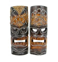 Masque tiki en bois pas cher. Déco murale Tiki Maori artisanale.