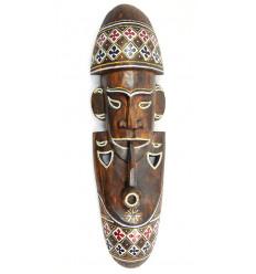 """Masque Africain """"fumeur de pipe"""" 50cm en bois + motifs colorés"""