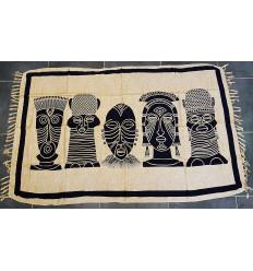 """Tenture murale africaine """"Les Masques"""" 175x115cm. Création artisanale."""