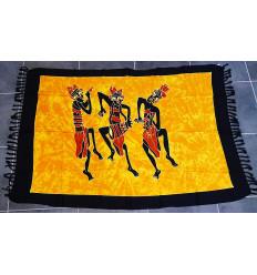 Tenture murale africaine, batik paréo textile de décoration ethnique.