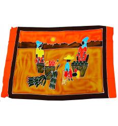 Attaccatura di parete africano. Batik tradizionale decorazione tessile o Pareo...