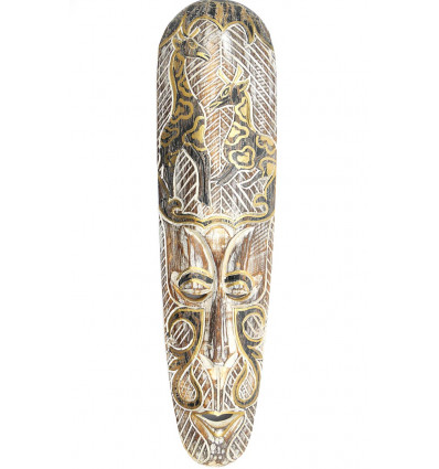 Masque africain moderne en bois blanchi, motif girafe noir et or.
