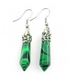 Pair of earrings in Malachite, clasp silver plated.