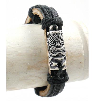 Bracelet tiki polynésien pour homme, bijou surf plage vacances.