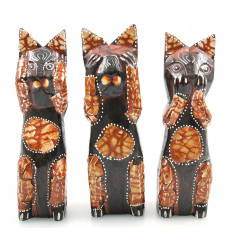 The 3 cats of the wisdom. Statuette cat original collector.