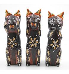 Bibelot chats de la sagesse, statuette chat en bois original pas cher
