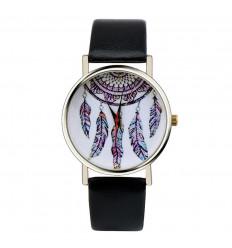 """Montre fantaisie femme """"Bohème"""" motif Attrape Reves - bracelet noir"""
