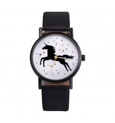 Montre femme motif licorne, bracelet noir. Livraison France Gratuite !