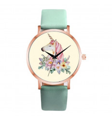Watch woman pattern unicorn, a pink wristband. Delivery France Free !