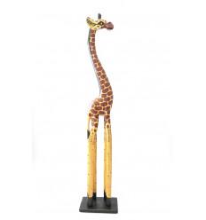 Statue Girafe debout H100cm création artisanale en bois.