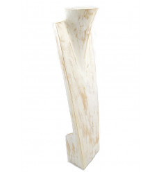 "Display special long necklaces H60cm bust in wood finishing ""white cérusé"""