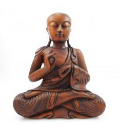 Statue moine bouddhiste shaolin en bois, sculpture artisanale Asie.
