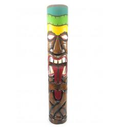 Totem Tiki qui tire la langue XXL 100cm en bois massif sculpté. Décoration Maori.