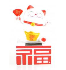 Maneki Neko solaire / Chat japonais blanc porte-bonheur