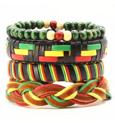 Bracelet africain pour homme, manchette vert jaune rouge Jamaïque.