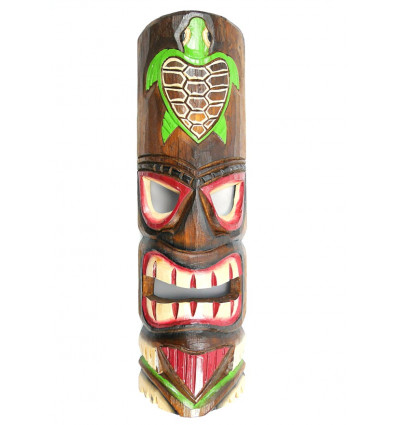Masque tiki en bois coloré pas cher. Déco Tiki Hawaï Tortue Tahiti.