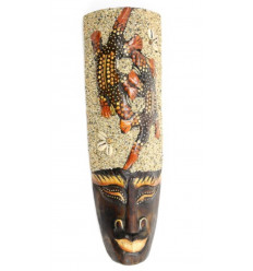 African mask 32 cm wooden Salamanders + sand and shells.