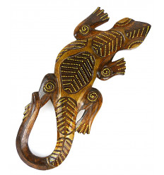 Salamandre motif batik - décoration murale en bois 30cm