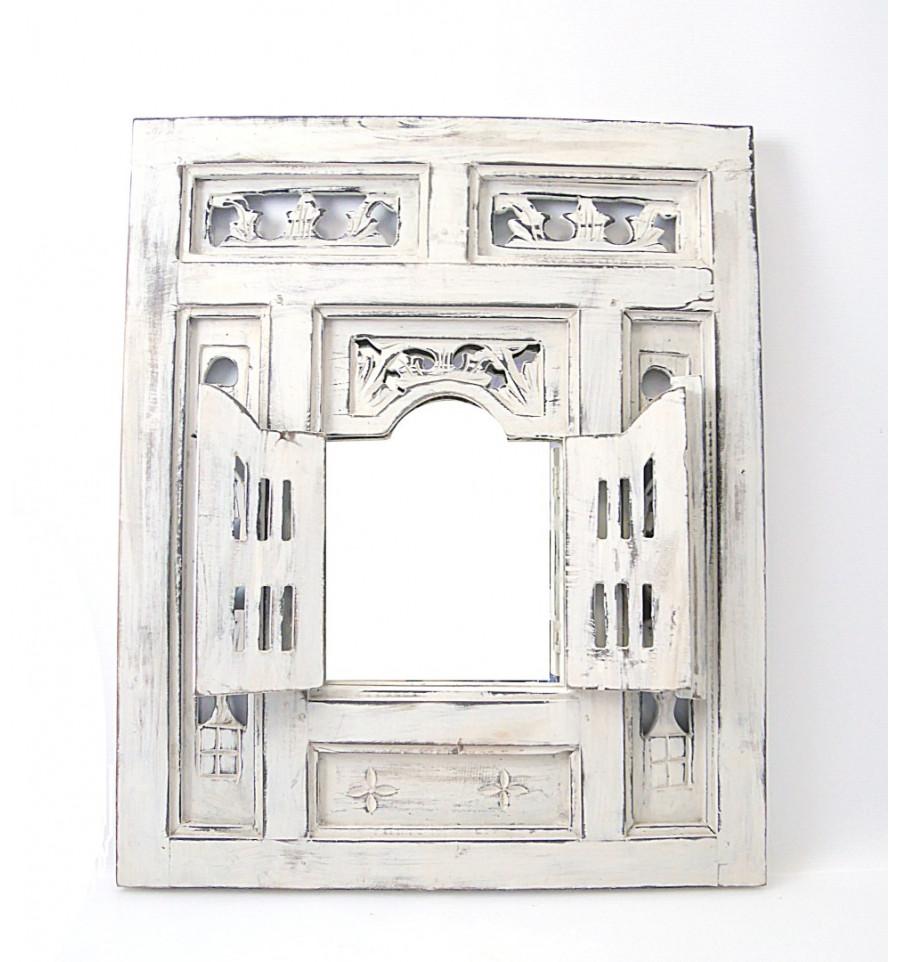 Miroir Fenêtre Oriental Bois Blanc Avec Volets Moucharabieh Ethnique