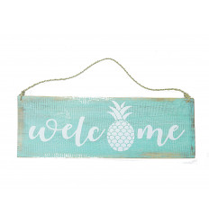 Plate door welcome, wood, turquoise, decoration pineapple girl.