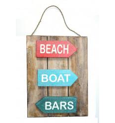 Pannello, decorazione, piatto di parete, porta in legno, stile spiaggia mare oceano.