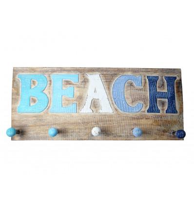 Porte-manteau mural, patère crochets bois, déco marine océan plage.