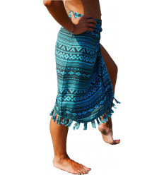 Sarong Bali turquoise, stole aztec dress upe of beach not expensive.