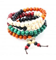 Bracciale Mala Tibetano perline in legno multicolore 8mm + nodo senza fine.