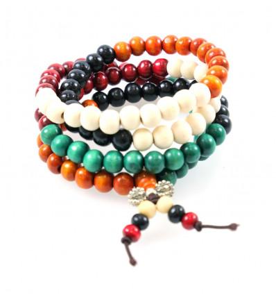 Bracelet Tibétain, Mala en perles de bois multicolores 8mm + noeud sans fin.