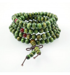 Bracelet Tibetan Mala beads wood 8mm + node without end. Colour green