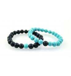 Bracelets de distance / couples - Agate noire et Howlite turquoise