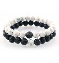 Bracelets of distance / couples - lava Stone and white Howlite - free Delivery !!!