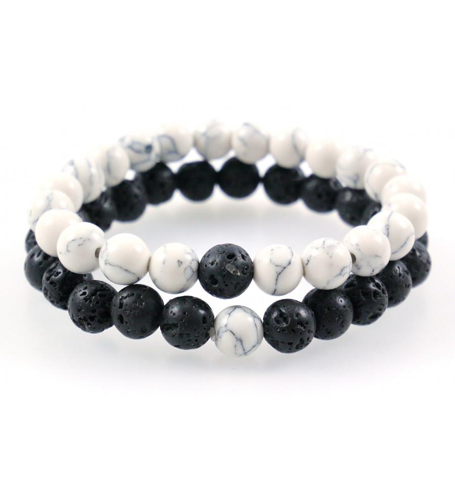 tout neuf 423d9 627a3 Bracelet de distance yin yang pierres naturelles pour les ...