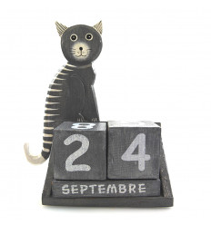 Calendrier perpétuel chat cubes en bois, cadeau maîtresse d'école.