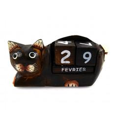 Calendrier perpétuel chat en bois. Idée cadeau instituteur maîtresse.