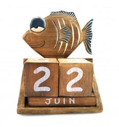 Calendrier perpétuel poisson cubes bois. Cadeau anniversaire enfant.