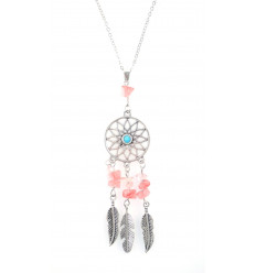 Necklace Bohemian with pendant giant dream catcher + bead Agate