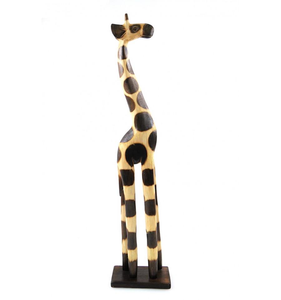 Statue Girafe Bois Decoration Africaine Maison Du Monde Pas Cher