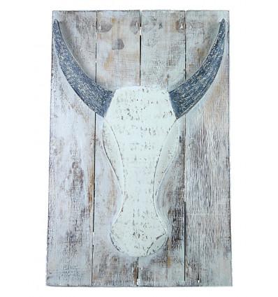 Tableau tête de buffle bois flotté, décoration murale bohème chic.