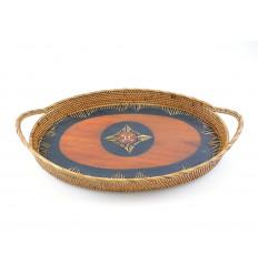 Piatto ovale in rattan con maniglie. Deco tavolo etnico chic.