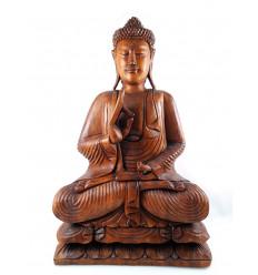 Statua di Buddha seduto XXL 80 cm in legno massello intagliato a mano. Importazione Asia.