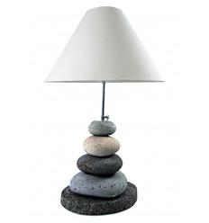 Lampe Galets grise en pierre volcanique naturelle H60cm. Création artisanale.