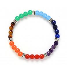 Bracelet 7 chakras, pierres fines 6mm et perles argentées