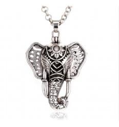 Collier Aromathérapie avec pendentif tête d'éléphant - Diffuseur de parfum
