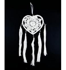 Décoration bohème boho, coeur à suspendre dentelle macramé pompon.