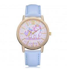 Montre femme motif licorne, bracelet bleu ciel. Livraison France Gratuite !
