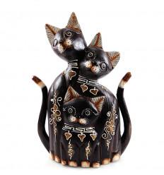 Statua Famiglia di 3 gatti in legno H40cm. Fatti a mano.