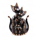 Statue famille chat bois. Décoration artisanale. Idée cadeau famille.